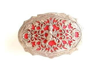 Vintage Ring Box . vintage Valentines Day decor . silver trinket box . ring box vintage . red wedding . angel . silver box . cherub