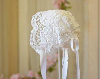 Stunning heavy lace heirloom baby bonnet