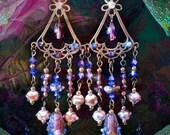 "Antiqued Bronze Indian Lampwork Glass & Cobalt Blue Crystal Chandelier Earrings, Bohemian Renaissance Jewelry, 4"" Long, Lightweight!"