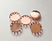 20pcs Rose Gold Lace Edge Round 12mm Cameo Settings