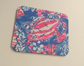 Mouse Pad  made with Lilly Pulitzer Signature Fabric Bay Blue Pop Pop