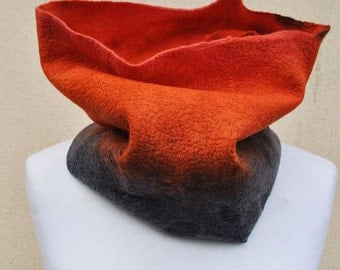 Felted golf, silk, wool, nuno, felted, gift, fibre art, orange, black