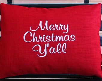 Monogrammed Outdoor Pillow Cover in Cherry Red - Merry Christmas Yall