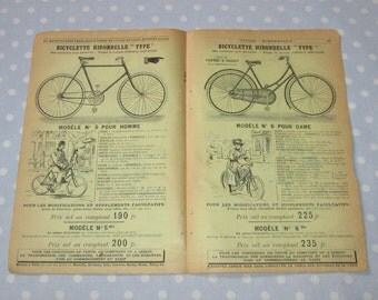 Antique French Catalog Pages Yellow Aged Paper Ephemera Bicycle Cyclists Bike Double Sided - Vintage (lot Z)