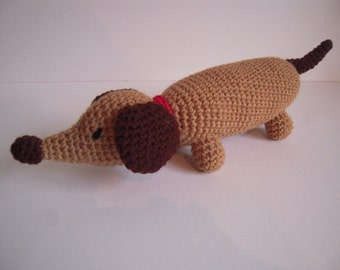 Crocheted Stuffed Amigurumi Dachshund Weiner Dog