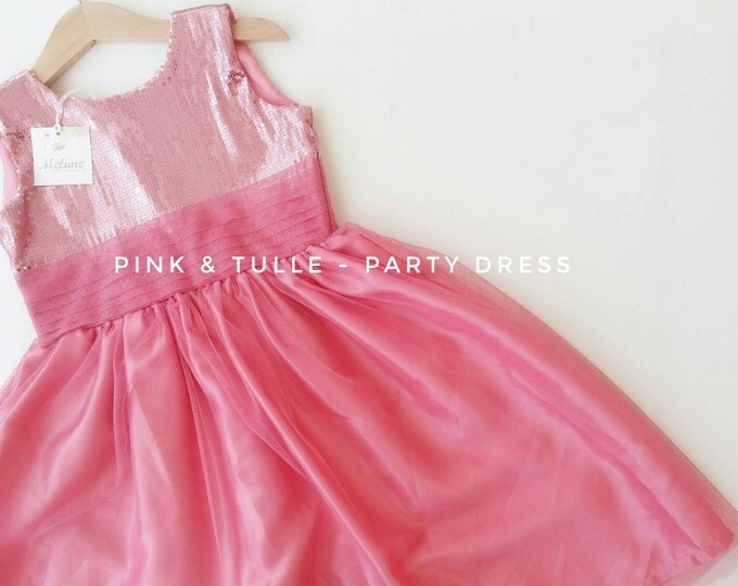 Girl Party Dress, Little girl Pink Tulle Dress, Toddler party dresses