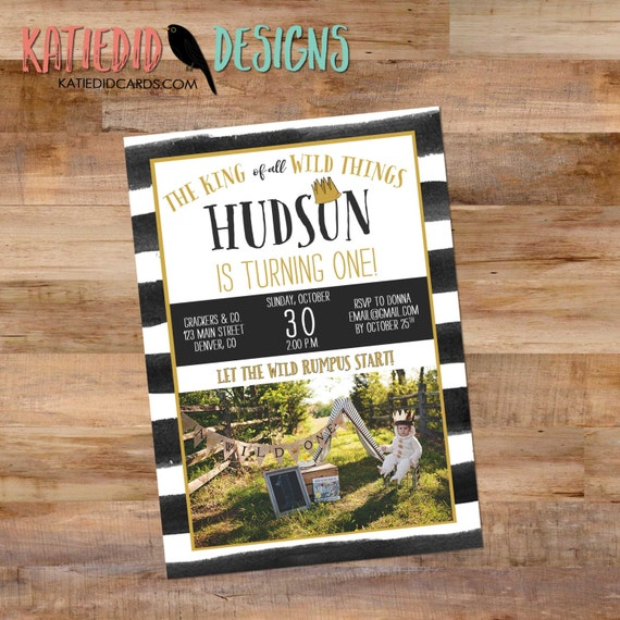 Wild Things birthday invitation party crown wild rumpus stripe king rustic chic first birthday bash gender neutral retirement (item 295B)