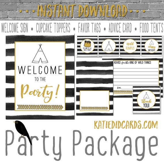 Wild Things Rumpus king birthday 292 5 package AS IS Instant Download Welcome sign cupcake toppers favor tag food advice hot air balloon