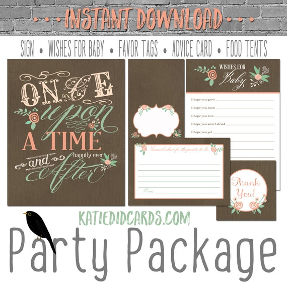Once upon a time storybook 1379 5 item package AS IS Instant Download sign wishes for baby favor tag tent advice card burlap chalkboard