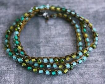 beaded wrap bracelet, beaded bracelet, layered bracelet, stacked bracelet, christmas gift for her, gold bracelet, white bracelet, boho