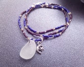 Blue and Brown Seed Bead Wrap Bracelet or Necklace with White Scottish Sea Glass and Silver Moon and Star Charm