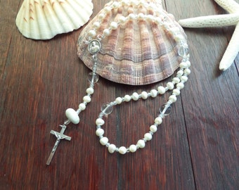 White Pearl Rosary with Scottish Iona Marble Healing Protection Baptism or Confirmation Gift from Scotland