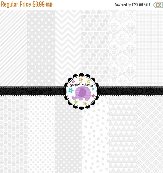 40% OFF SALE White Digital Paper Pack, White Digital Scrapbook Papers, White Digital Backgrounds, Instant Download, Commercial Use