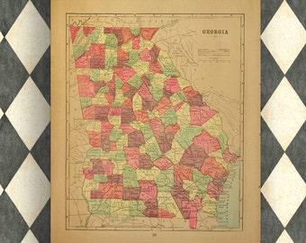 1889 Map of Georgia