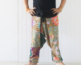 Wrap harem  pants  Thai batik on  Thai traditional  patchwork, harem pants , size S-XL,unisex pants,boho,hippie,spa,yoga