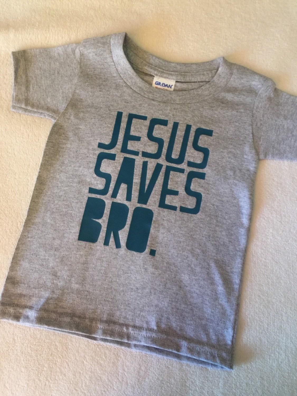 Jesus Saves Bro Baby Toddler Kids T Shirt Grey Turquoise Print