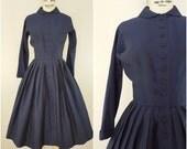 Vintage Late 1940s Early 1950s Dress / Jeanne D'Arc / Midnight Blue Silk Dress / Full Skirt Dress / XS