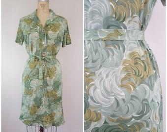 Vintage 1970s Brush Strokes Dress / Rayon Tie Waist Dress / Green Dress / Medium Large