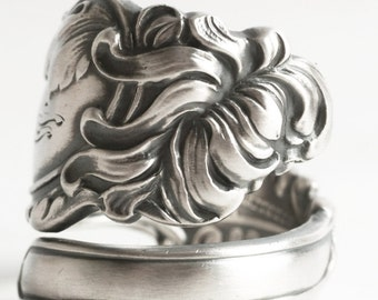 Art Nouveau Chrysanthemum Ring, Sterling Silver Spoon Ring, Silver Mum Flower Ring, Antique Gorham H411 ca 1900, Adjustable Ring Size (6217)