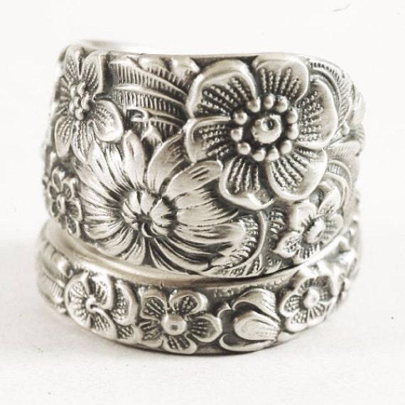 Wild Flower Ring, Sterling Silver Spoon Ring, Wedding Ring Alternative, Vintage Alvin Spoon Pattern, Handmade Gift, Custom Ring Size (6159)