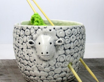 Yarn bowl sheep Knitting bowl Knitter gift  Made to order