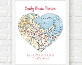 Personalized Baby Gift, New Baby Room Decor, Newborn Gift, Map Art, Baby Name Art, Birth Announcement, Baby Girl Gift, Heart Nursery Decor