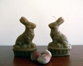 Easter bunny beeswax set of 2 candles / French lavender beeswax bunny sitting in a wood basket shaped candle / Home and Easter decor