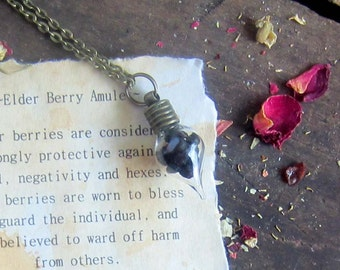 Wiccan Herbs ELDER BERRY amulet vial necklace witchcraft Jewelry pagan wicca herbs magick occult witchcraft witchy jewelry