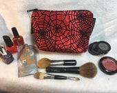 Make-up Bag, Spider Web , Nerdy Bag, Makeup Purse, Spider bag, Halloween bag, Steampunk bag, Punk bag, Gifts for her, ComicCon