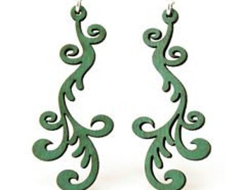 Hollander Vine Design - Laser Cut Wood Earrings