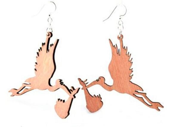 Storks carrying babies - Laser Cut Wood Earrings