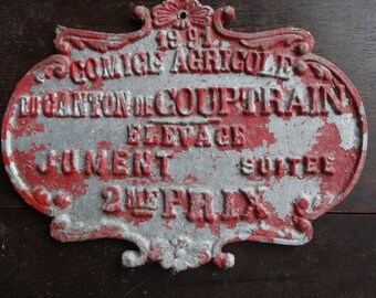 Vintage French agricultural farming beef cattle cow livestock winner red metal prize trophy plaque agriculture farm 1991 / English Shop