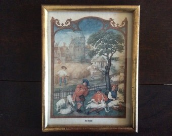 Vintage French Wood Frame Glass Fronted Print La recolte Farming Sheep Shearing Harvesting Harvest Picture circa 1960-70's / English Shop