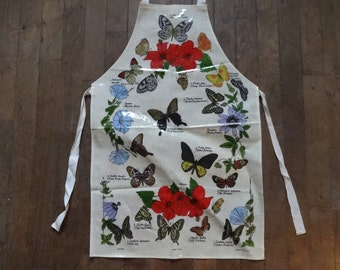 Vintage Irish Cotton Coated PVC Butterfly Flowers Apron Cooking Kitchen Collectable circa 1970-80's / English Shop