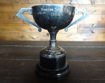 Vintage English Kington Town C.C. Cup Trophy Cup Winners Award Prize Trophies Patina circa 1964 / English Shop