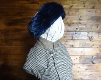 Vintage English blue faux fur headband woman ladies unisex size 24 circa 1980-90's / English Shop