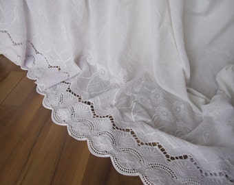 Lace bedskirt - Ivory off white eyelet lace cotton Dust ruffle - QUEEN KING Bed skirt scalloped edge - shabby chic romantic elegant bedding