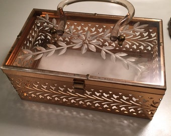 Vintage 50's Metal and Lucite Box Purse