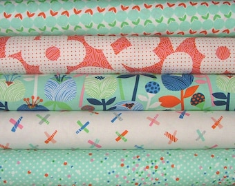 Noe Fat Quarter Bundle of 5 in Pink & Teal by Erin McMorris for Free Spirit