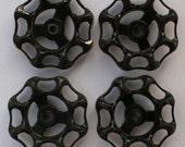 Vintage Faucet Handles -Freeshipping-Vintage Hardware-Potting Shed Project Handles-Old Black handles- Industrial Handles-Metal Handles