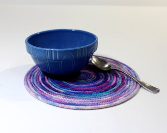 Clothesline Coiled Rope Trivet - Hand Dyed Snack Mat - Handmade Placemat - Large Mug Rug - Homemade Candle Mat