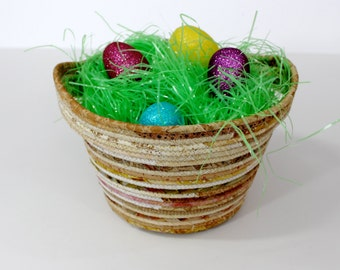 Coiled Rope Basket Bowl - Extra Large Family Easter Basket - Knitters Basket - Natural Colors