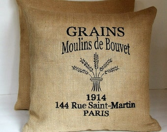 """Two (2) Beige French Burlap Grain Sack Pillow Covers Made to Fit  18"""" x 18"""" Pillows."""