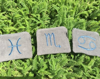 Handmade Zodiac sign, zipper pocket pouch Wallet, water elements, Pisces, Cancer, Scorpio, card pouch, change bag, mp3 player, iPod