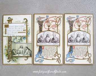 3 Antique French Religious 1st Communion Holy Cards by Blanchard Orleans For Young Catholic Girl 14 June 1900