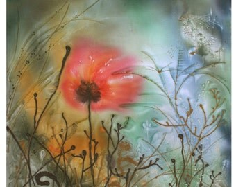 Relax art, gift for Her, poppy, gift for woman, red flower, cottage chic, vivid colors, painting, print on canvas, meditation, fairy bird