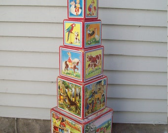 1940's Lungers Hausen Stacking Nesting Blocks Nursery Rhyme Blocks Picture Blocks Shabby Cottage Decor