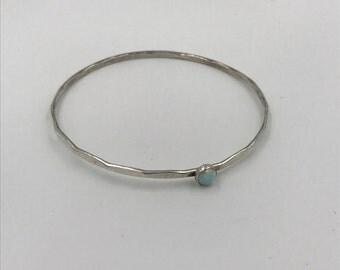 Sterling Silver Hammered Bangle Bracelet with Opal Gemstone |