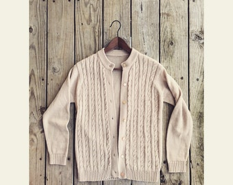 Vtg 80s Preppy Light Beige Thick Cable Knit Button Down Cardigan