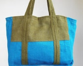 Large, Lined Jute Hessian Burlap Beach Bag/Shopping Bag/Grocery Bag